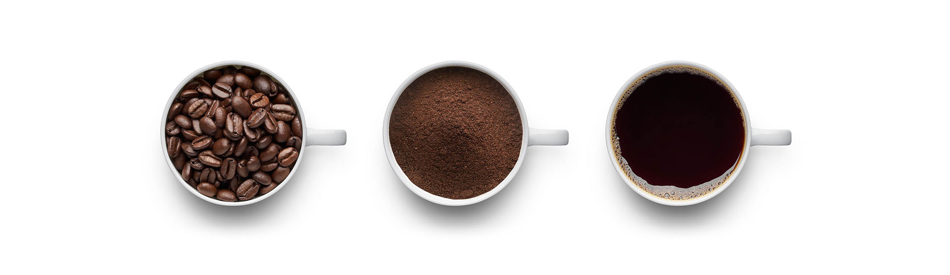 Coffee beans, ground coffee and cup of black coffee