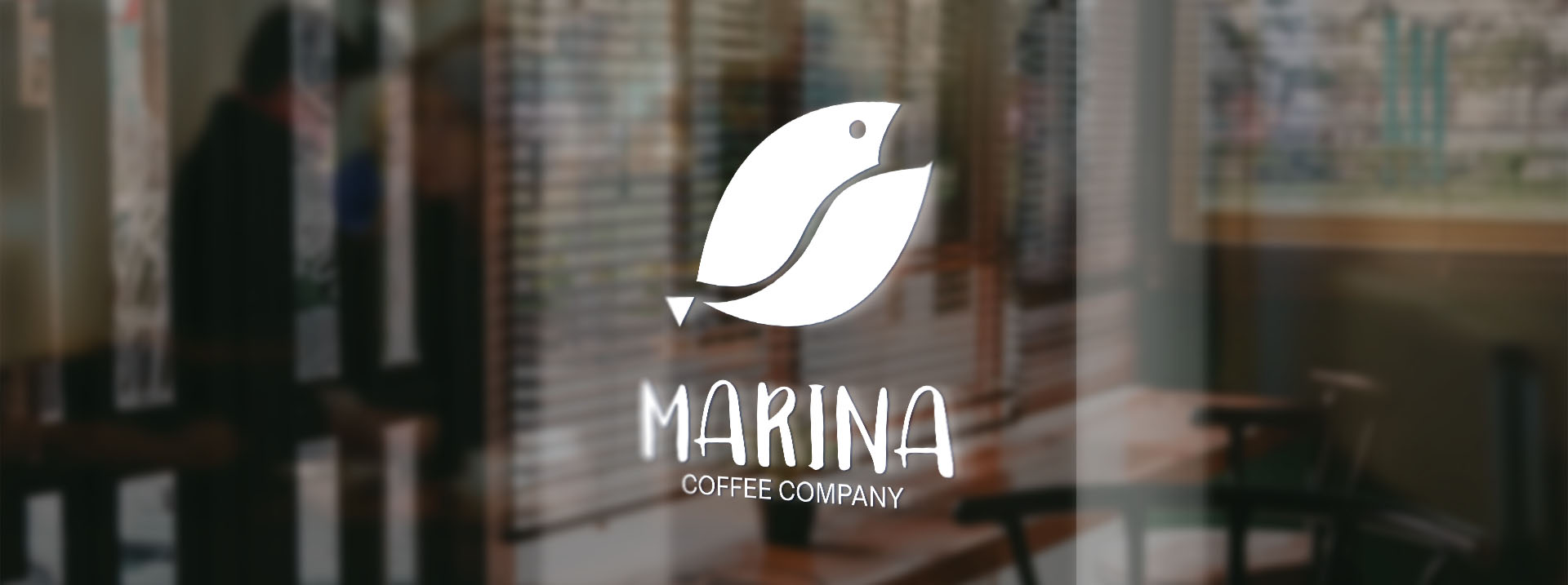 Glass door with a logo