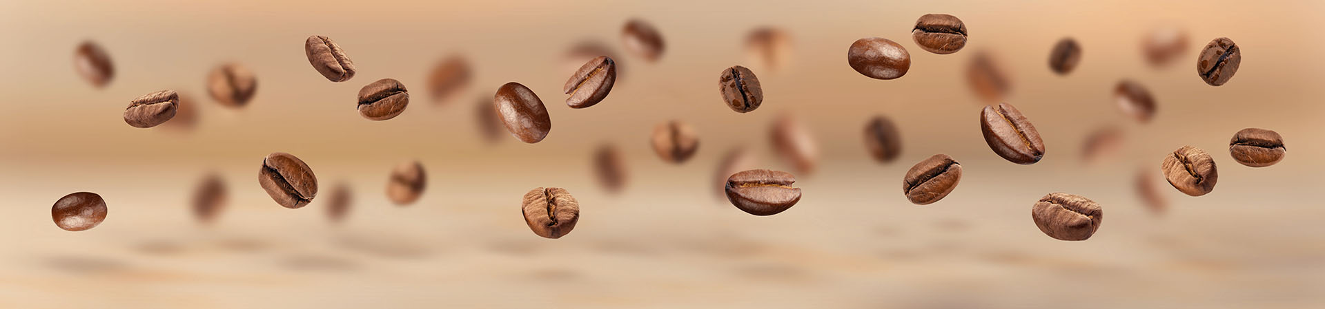 Flying coffee beans horizontal banner
