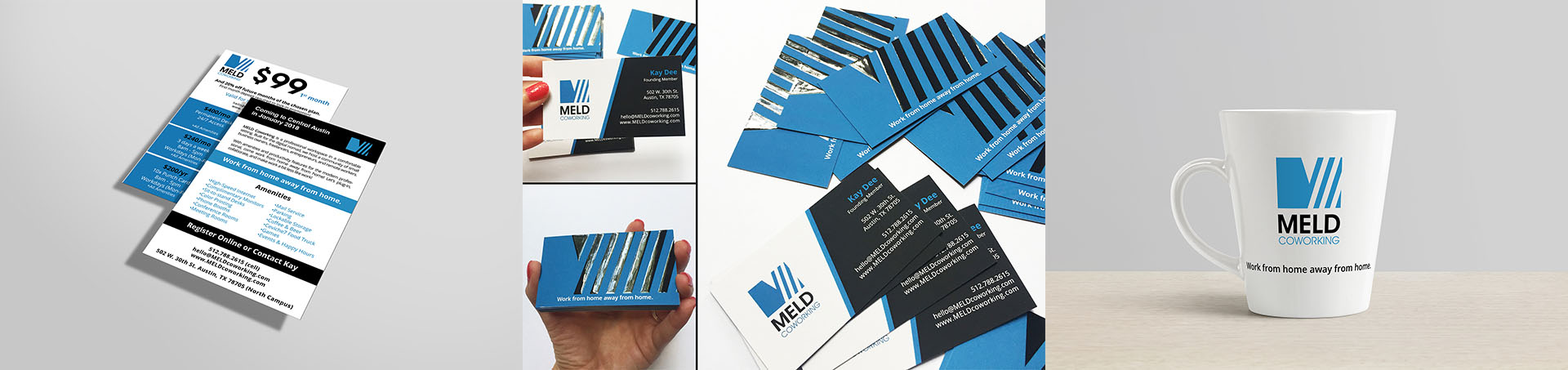 Brand Identity - cup, business cards and flyers