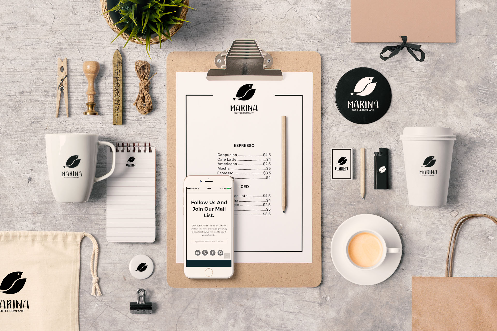 Branding Stationery for a coffee shop