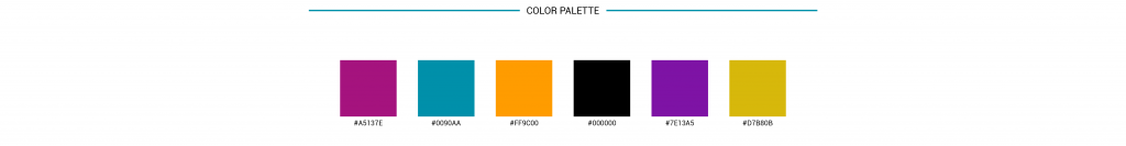 color palette example on a brand board