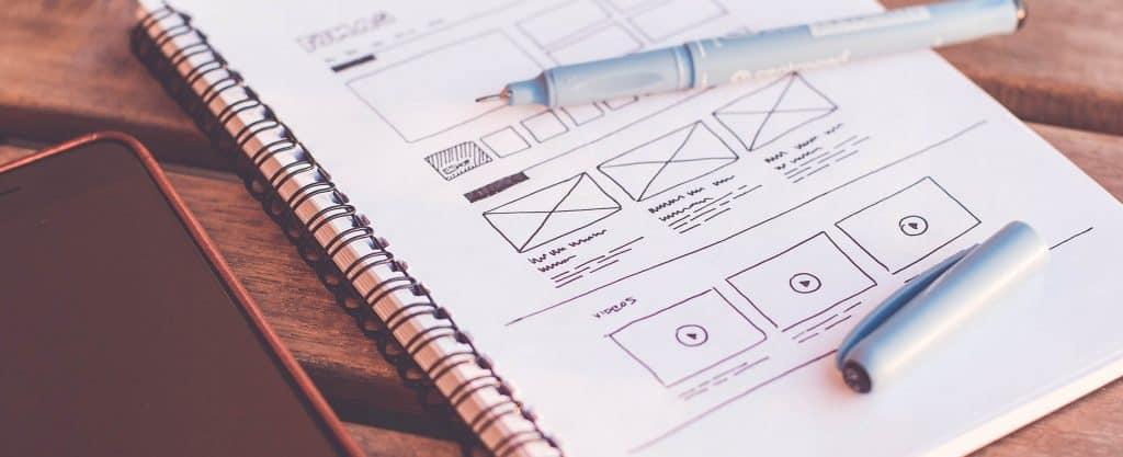 Website design - sketches on paper