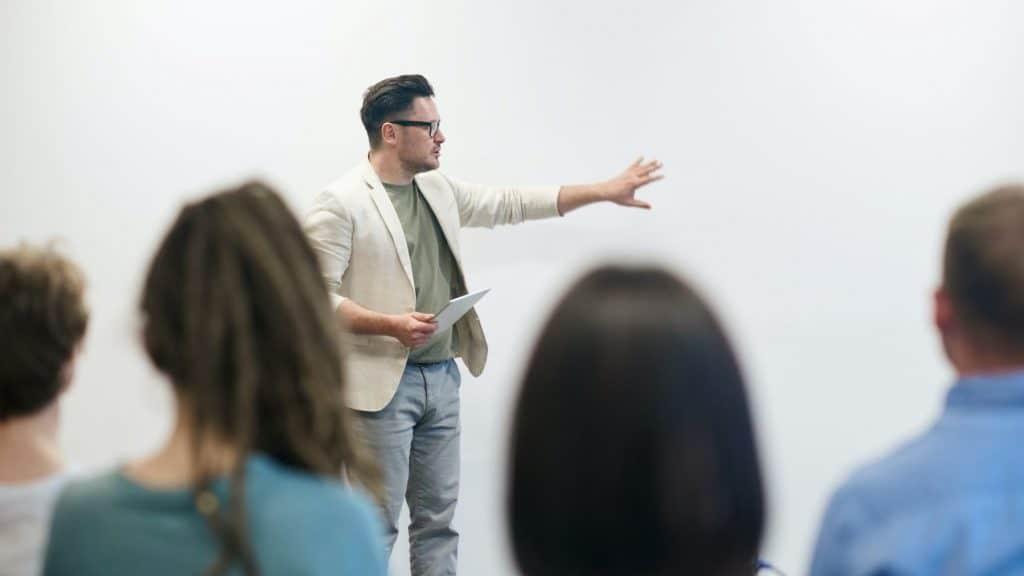 man giving a business presentation