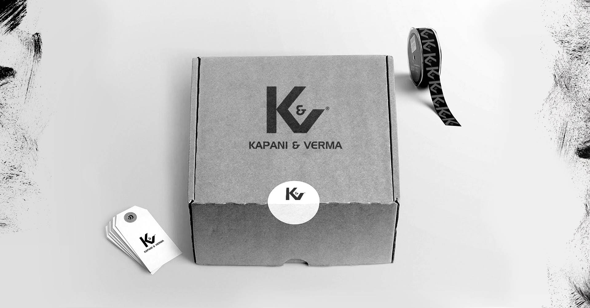 black and white logo on a box