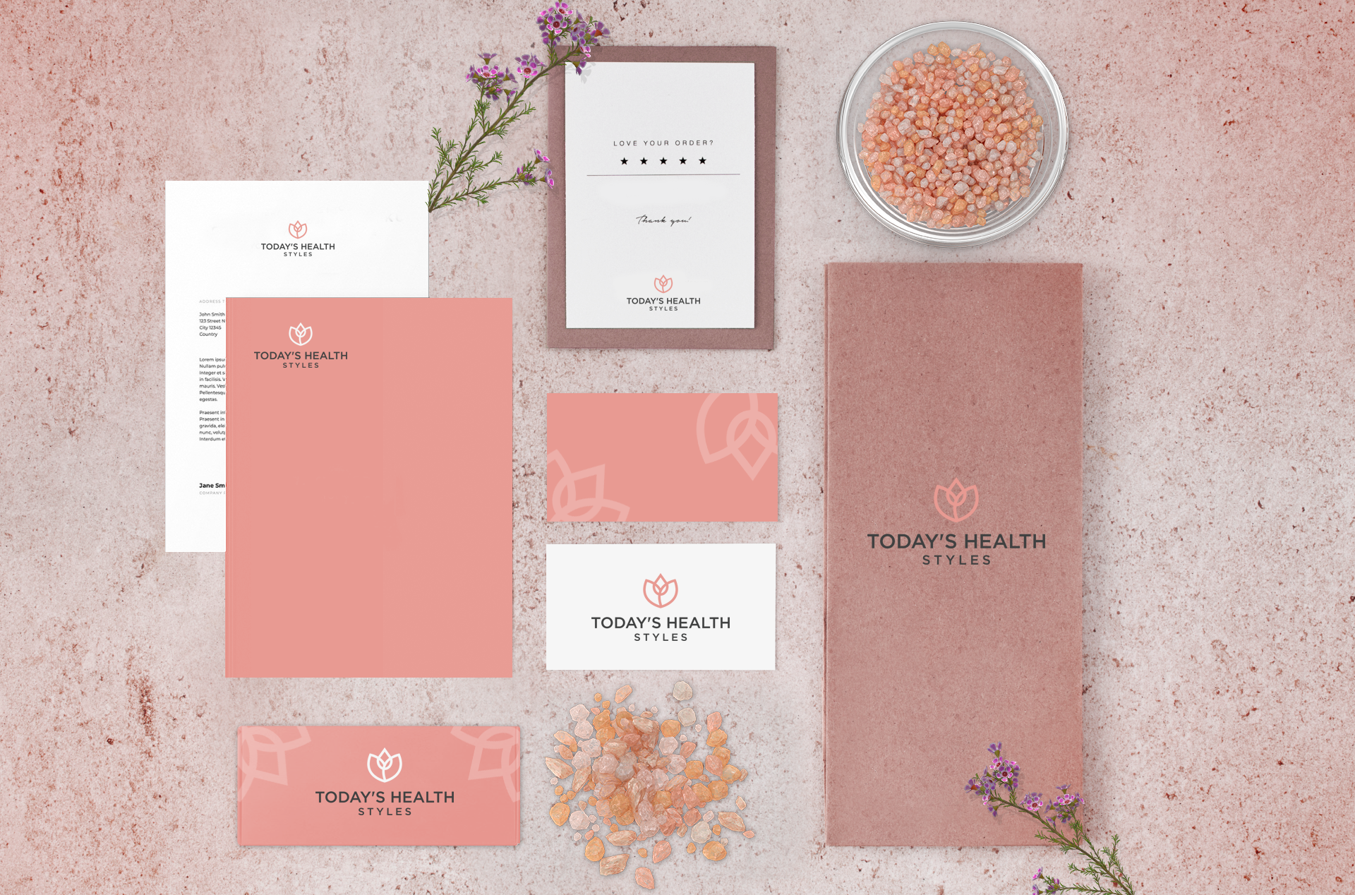 Stationery design and branding for a wellness product - Himalayan Salt