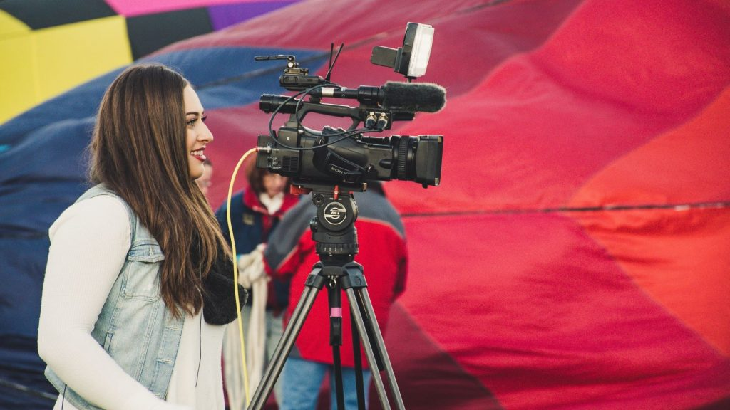 woman creating video marketing content for her business