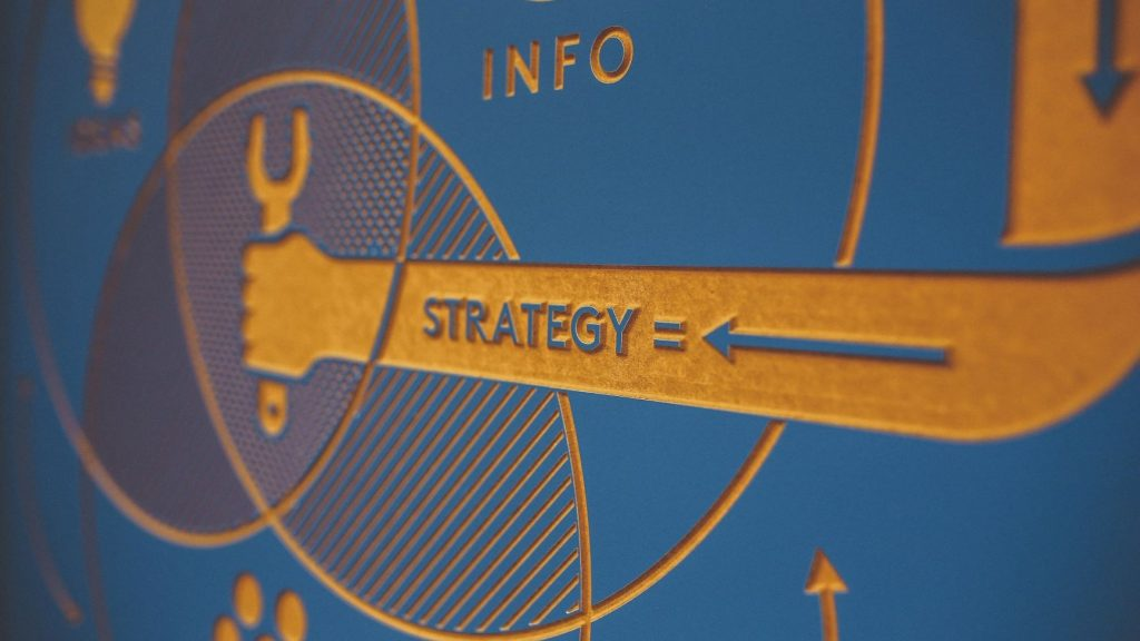 marketing strategy symbol in blue and orange