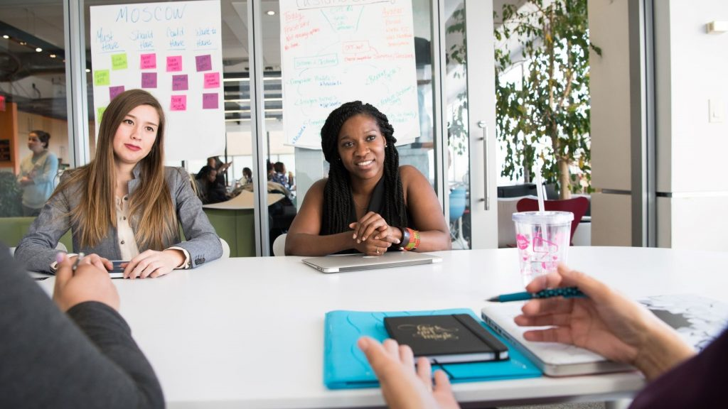 two business women creating a content strategy