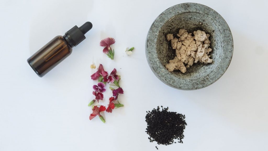 flowers seeds and essential oils