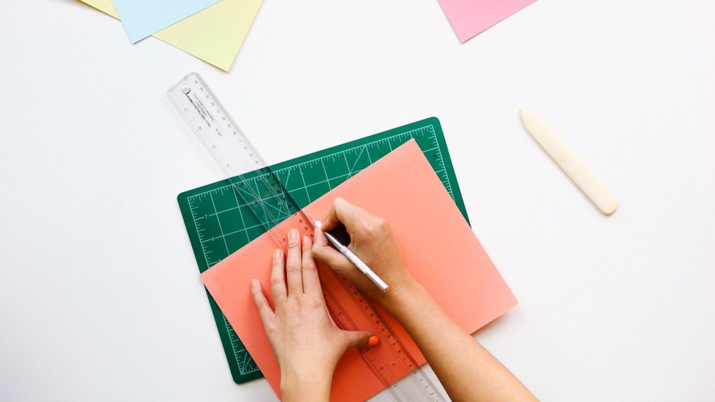 branding design on different colored paper