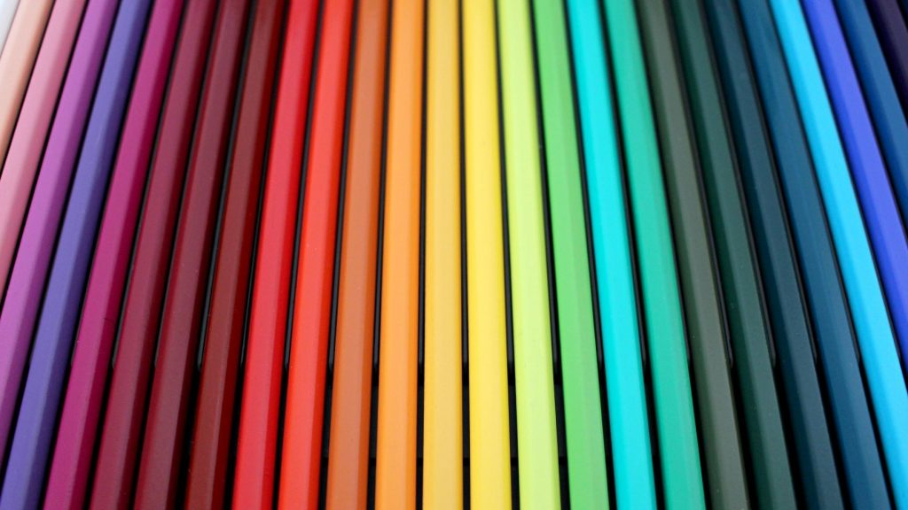colored pencils lined up in a row
