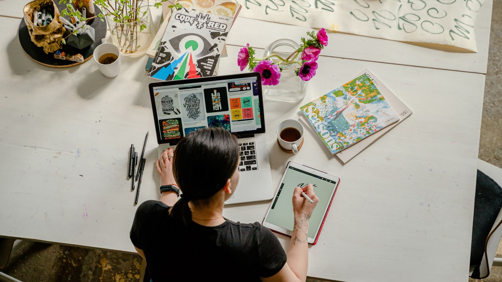 graphic designer creating a logo design