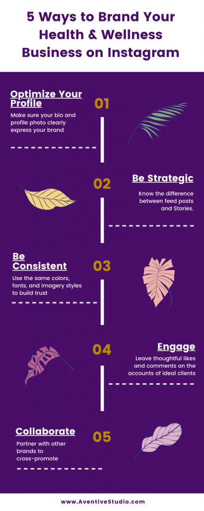 Infographic of 5 ways to brand your health and wellness business on Instagram