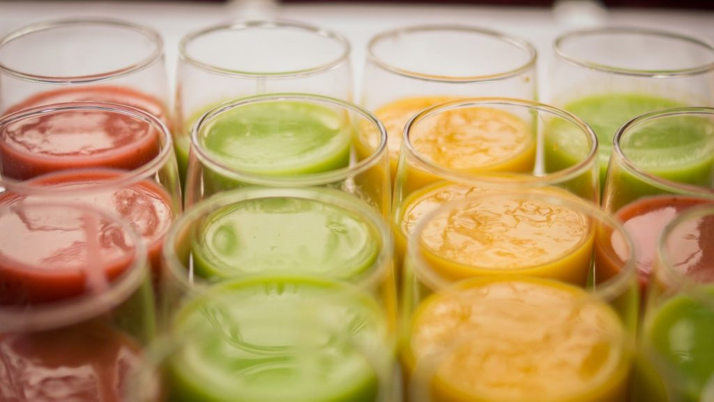 colorful healthy juices