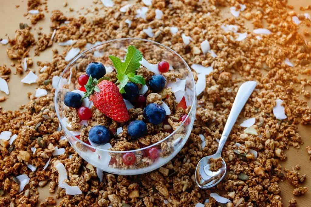 strawberry and blueberry granola