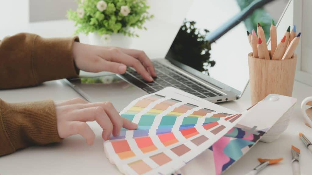 entrepreneur choosing her brand colors