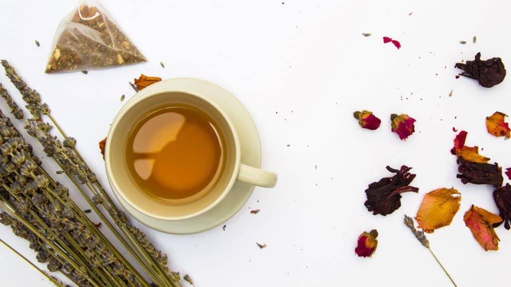 styled ceramic mug with tea