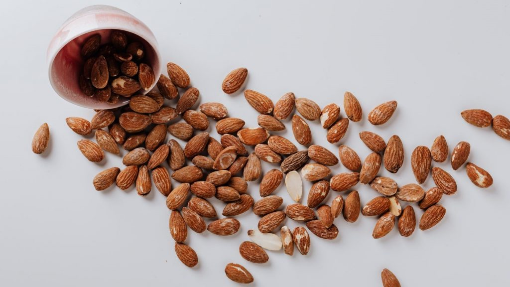 almonds on a white background