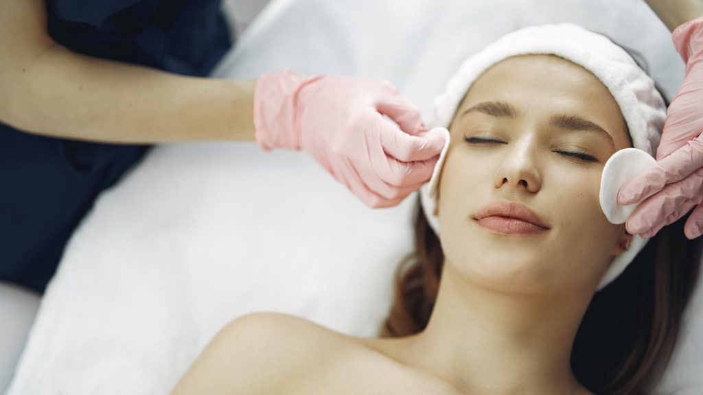 woman receiving a skincare treatment