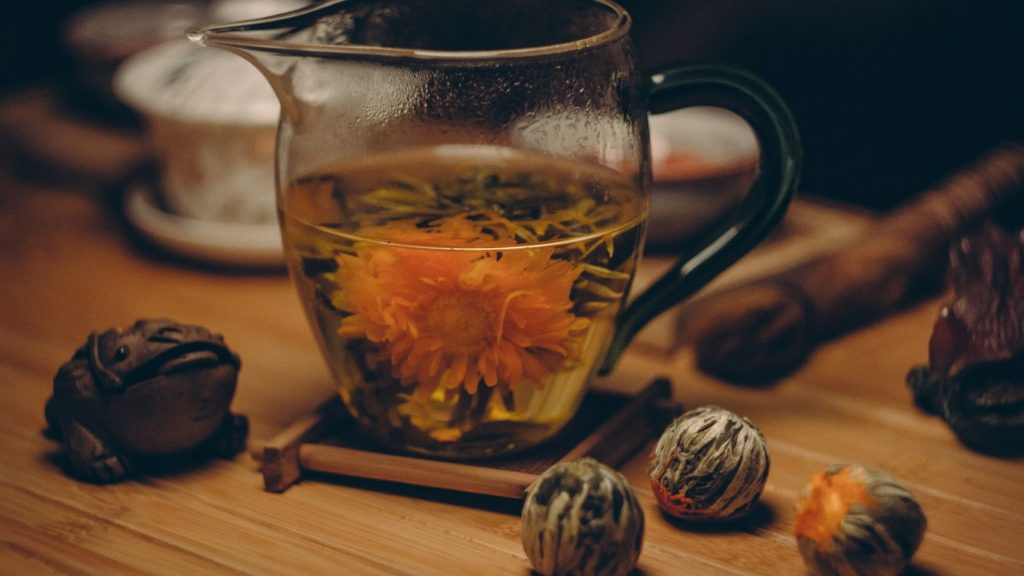 tea branding with flowering tea