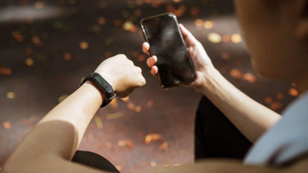 woman using a wellness app