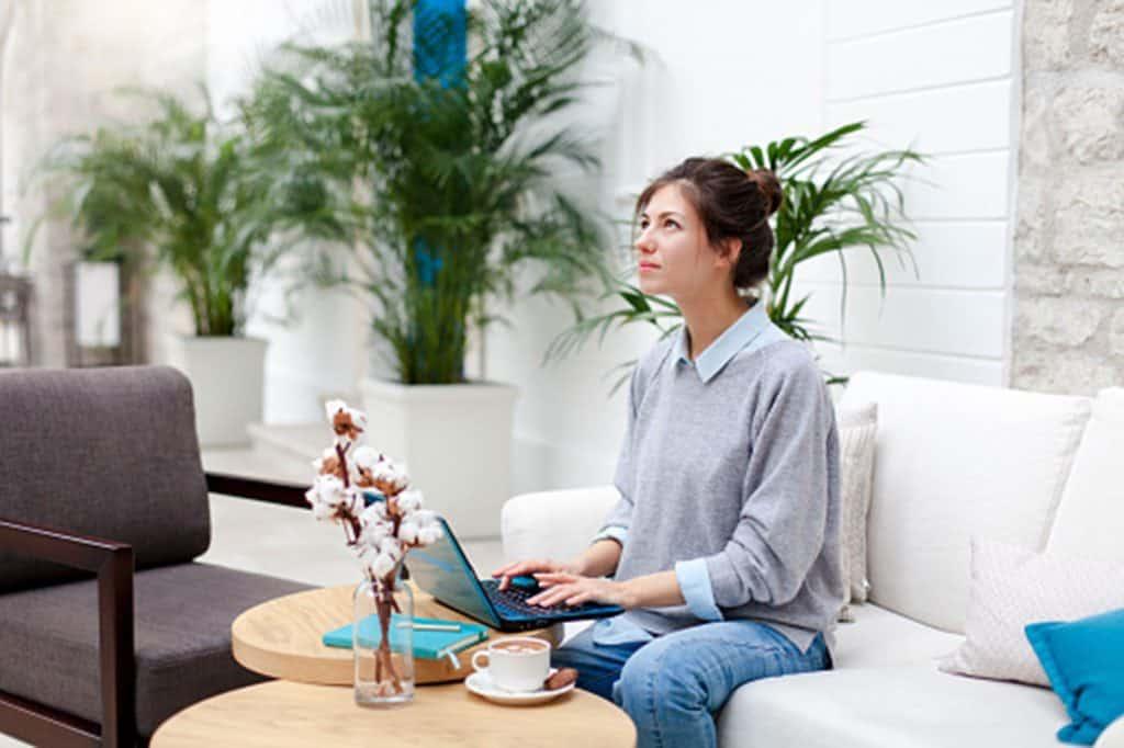 Woman writing wellness blog