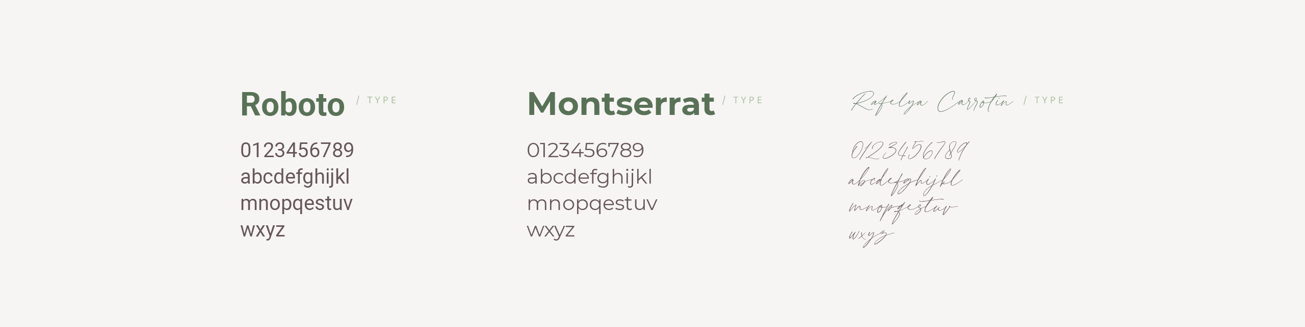 Used font for a skincare company