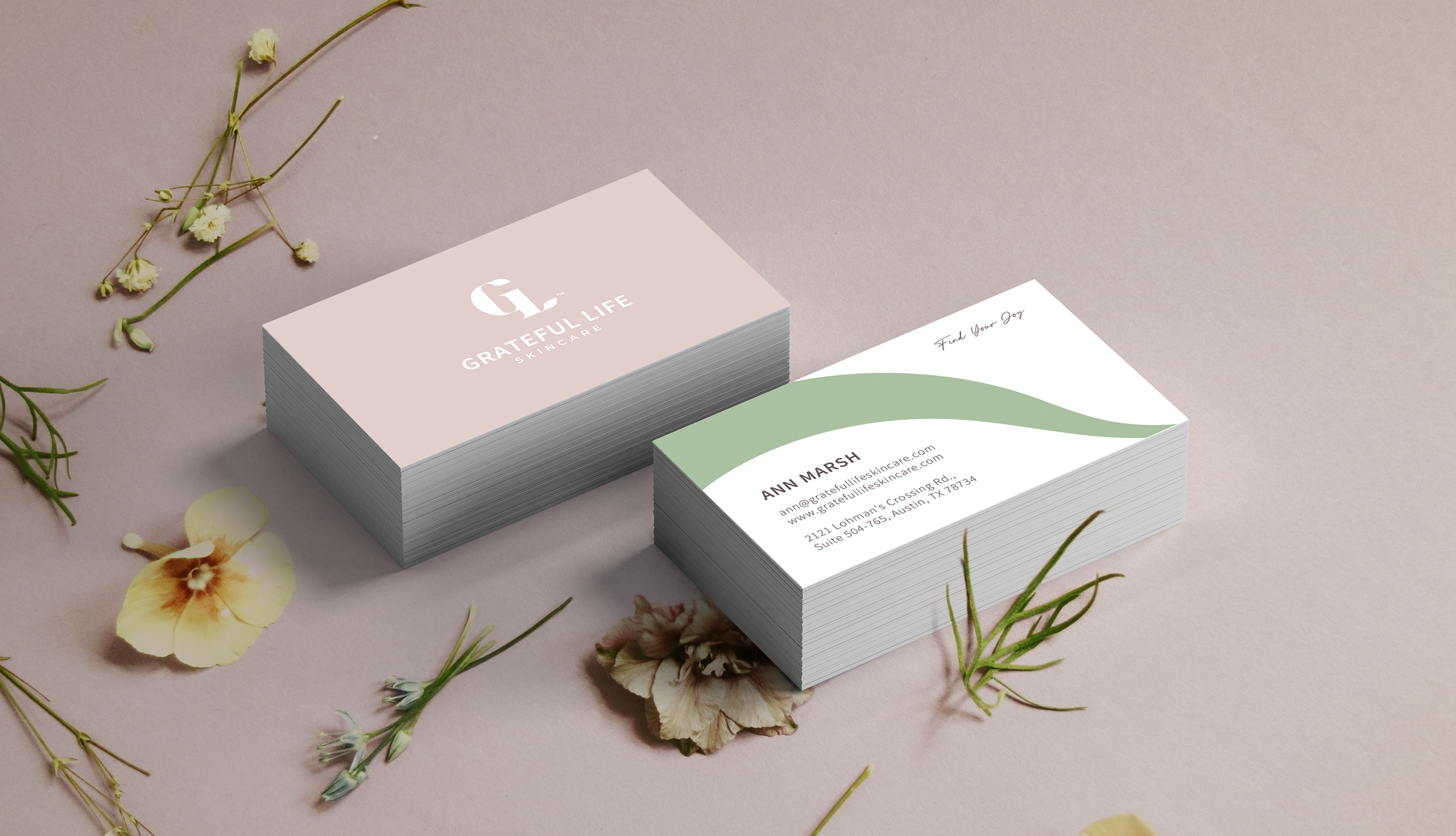 Business cards for a skin care business